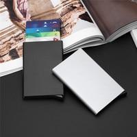 бесплатная доставка держатель для карт из нержавеющей стали серебристый алюминиевый чехол для кредитных карт женские кошельки Нуэва моде мужские ID карты окно cartao