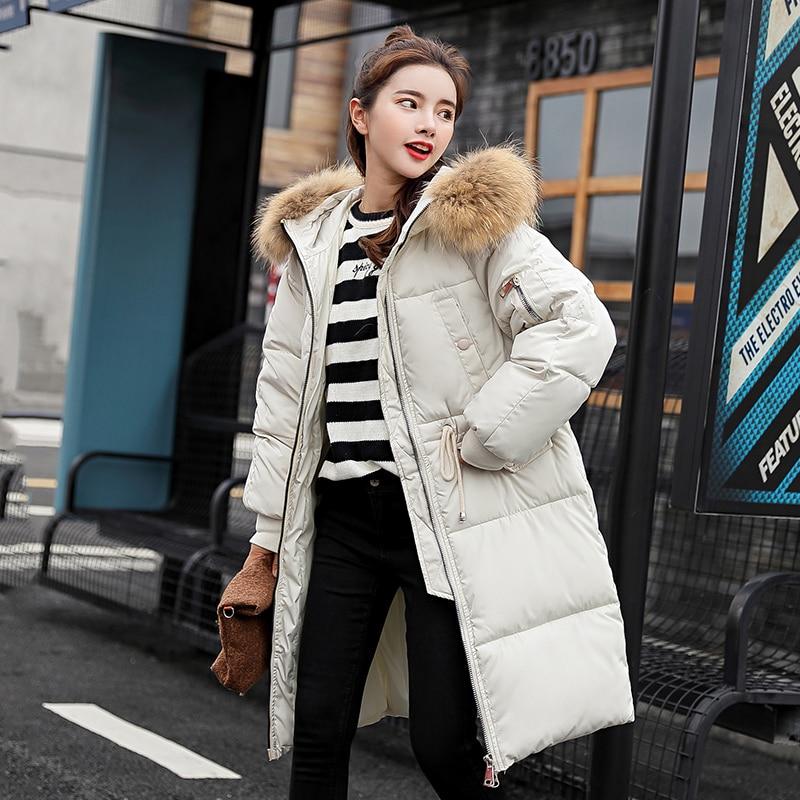 2018 New Arrival Large Fur Collar Winter   Parka   Women Medium-long Winter Coat Female Large Size Down Jacket Women Thick Outwear