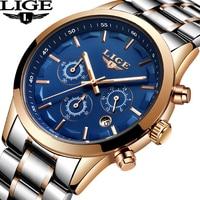 LIGE мужские часы лучший бренд класса люкс мужские военные спортивные часы мужские Нержавеющаясталь Водонепроницаемый кварцевые мужские