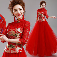 Red Satin Tops For Woman 2017 New Bride Wedding Dress Modern Qi Pao Long Cheongsam Orientale Robe Chinoise Qipao Party Dresses