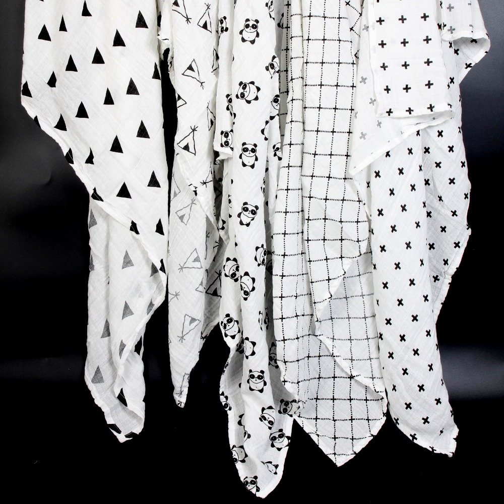 Ainaan Muslin Cotton Baby Swaddles For Newborn Baby Blankets Black & White Gauze Bath Towel