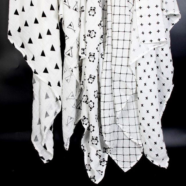 Ainaan Musselin Baumwolle Baby Swaddles Für Neugeborenen Baby Decken Schwarz  U0026 Weiß Gaze Bad Handtuch