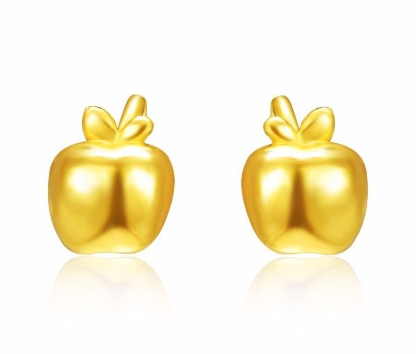 Fashion  Authentic 24K Yellow Gold Earrings /Lucky Apple Earring Stud/ 1.75gFashion  Authentic 24K Yellow Gold Earrings /Lucky Apple Earring Stud/ 1.75g