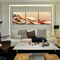 Starfish Shell Full Drill Diamond Painting Wall Art 3D DIY Cross Stich Round Diamond Painting Triptych