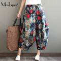 One Size Women Trousers 2017 Sping Summer Ethnic Style Vintage Ink Print Elastic Waist Cotton Linen Loose Casual Harem Pants