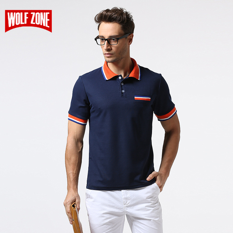 WOLF ZONE   Polo   Shirt Men Short Sleeve Breathable Business Fashion Casual Mens Solid Cotton   Polo   Shirts Soft Brand Clothing