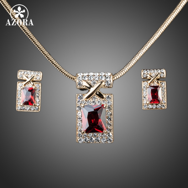 AZORA Gold Color Unique Design with Dark Red Cubic Zirconia Earrings and Necklace Jewelr ...