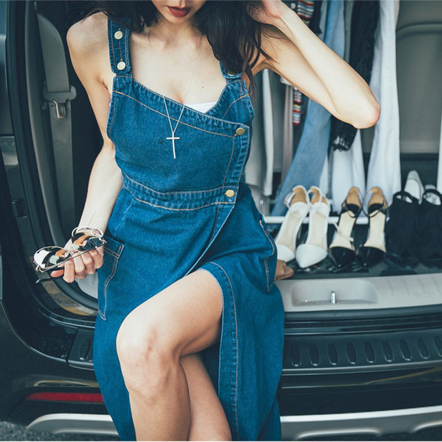 [TWOTWINSTYLE] 2017 New Denim Plus Size XL With Straps Women Dress Korean