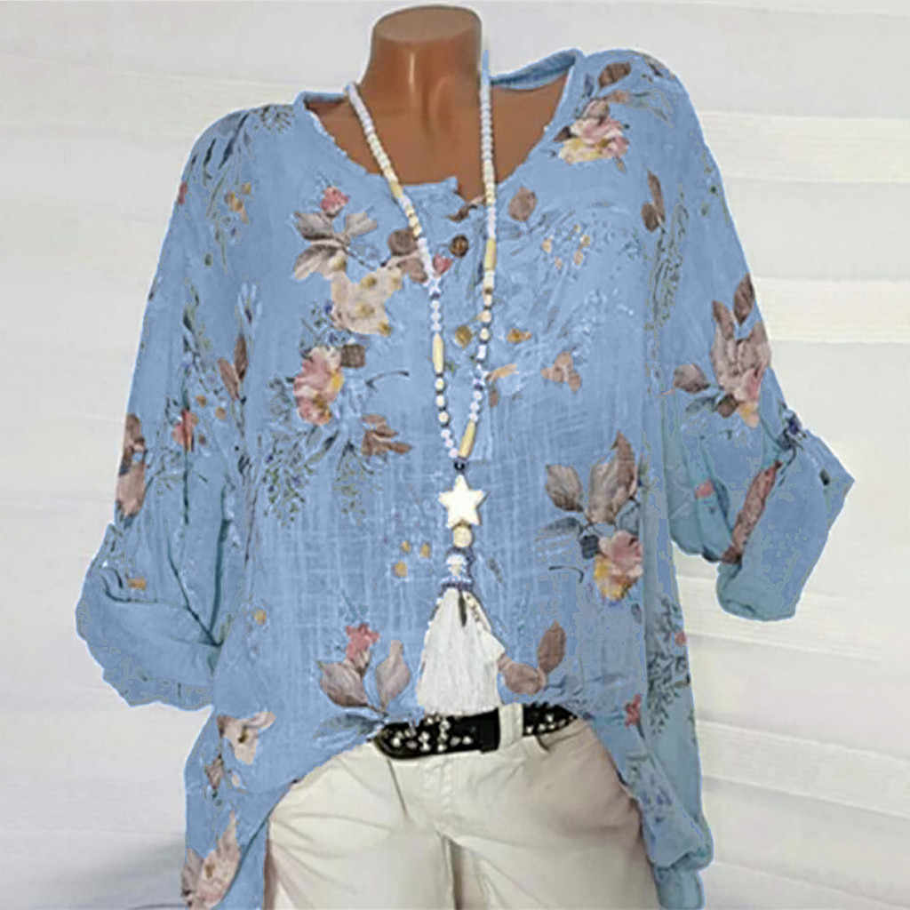 Feitong 블라우스 여성 o-넥 인쇄 여름 셔츠 숙녀 긴 소매 쉬운 탑 플러스 사이즈 셔츠 블라우스 Blusas Mujer De Moda 2020