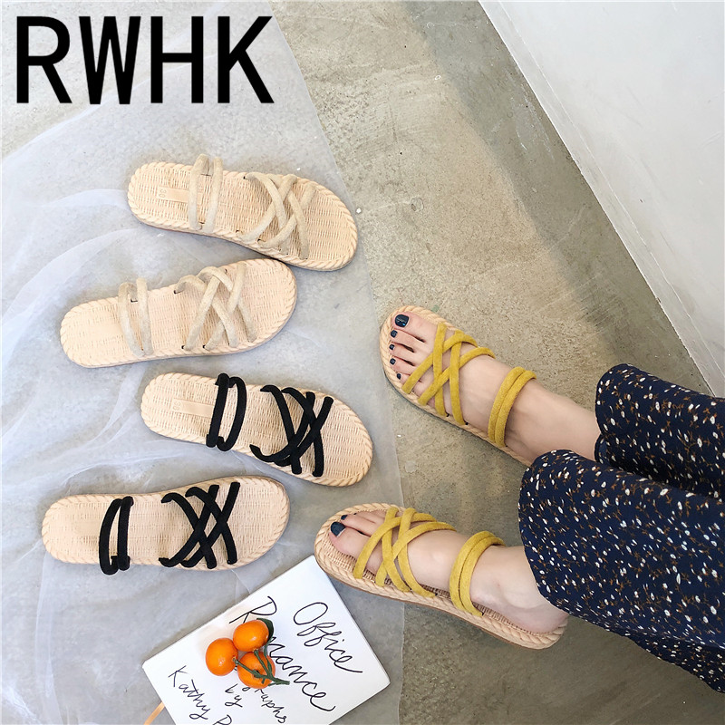 RWHK 2019 summer Europe and the United States new straw braided rope slippers women flat with two wear fashion shoes B418