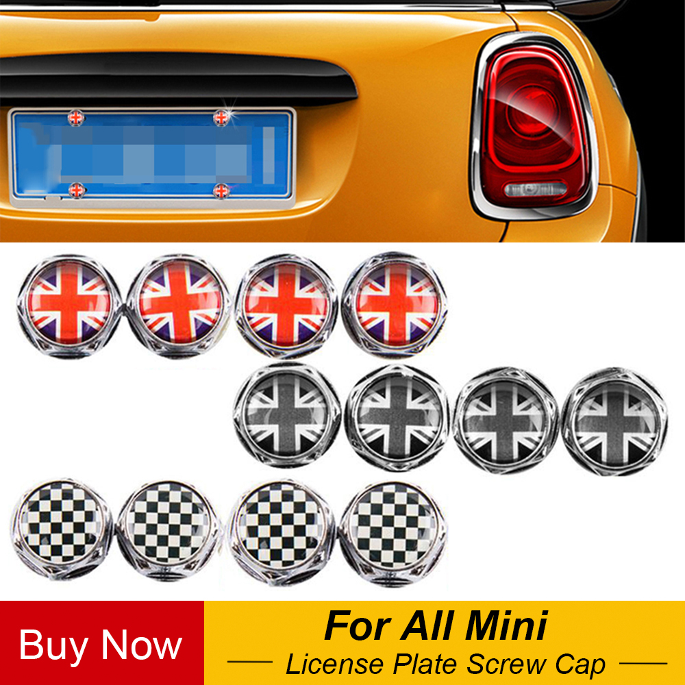 4Pcs/set Car License Plate Fixed Bolt Screw Caps Emblem Decal For BMW Mini Cooper JCW One S Countryman Car Styling Accessories