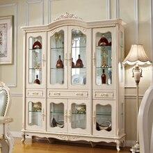 Европейский стиль 4 двери винные шкафы, витрина кабина для гостиной мебель с золотом