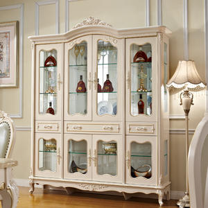 Cabinets-Display Living-Room-Furniture for with Gold 4-Doors Wine European-Style