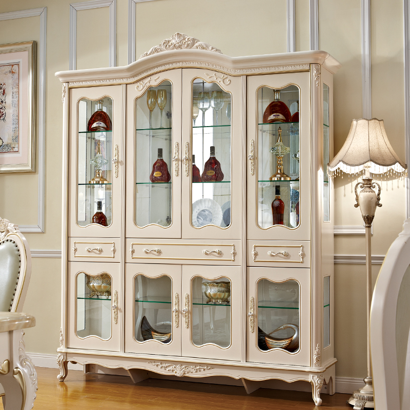European Style 4 Doors Wine Cabinets Display Cabine For Living Room Furniture With Gold