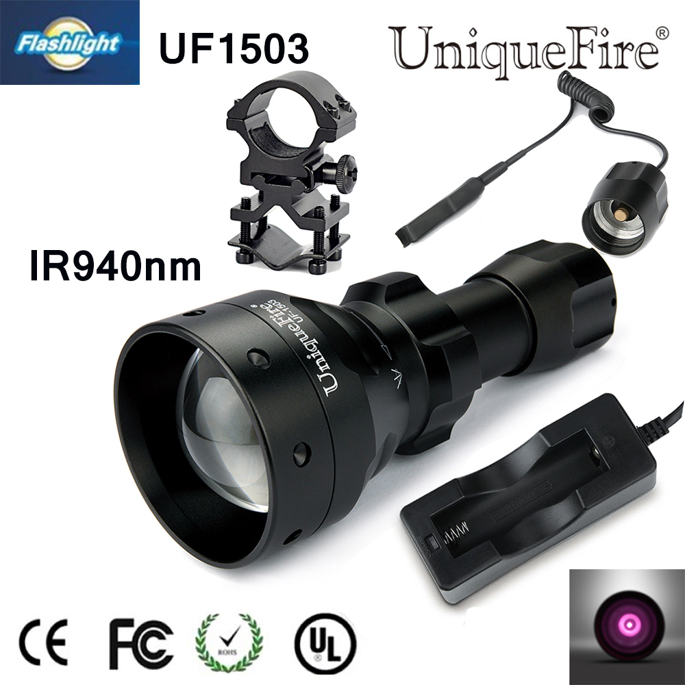 Waterproof Flashlight Uniquefire Infrared Night Vision 1503 IR 940NM Zoomable LED Flashlight+Charger+Tactical Remote+Scope Mount 5w 940nm infrared ir led emitter silver
