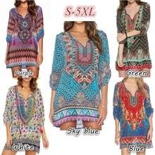 Casual Women Clothes 2018 Dress Plus Size Women Floral Print Mid Sleeve  Dresses Bohemian Mini Women 3107a66c8be3