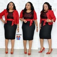 African Clothes Lace Patchwork Two Piece Set Women 2019 Elegant Blazer&Lace Pencil Dress High Quality Office Lady Plus Size