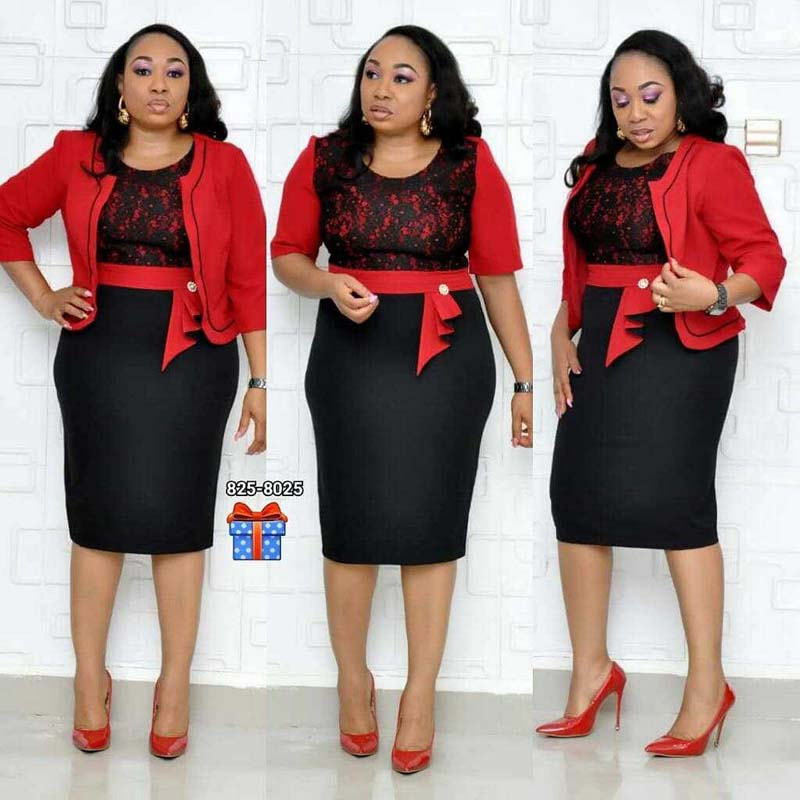 African Clothes Lace Patchwork Two Piece Set Women 2019 Elegant Blazer&Lace Pencil Dress High Quality Office Lady Plus Size(China)