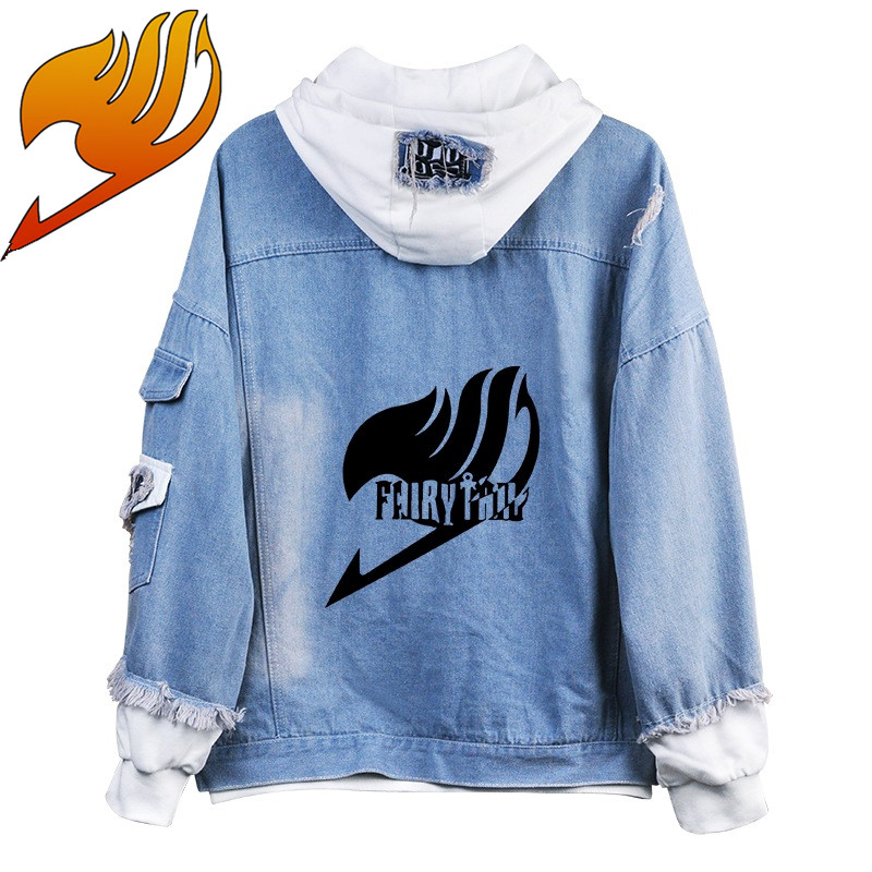 Fairy Tail END costumes Overlord Hoodies Jackets Men women cartoon casual Jean jacket Ripped denim top in fashionable print