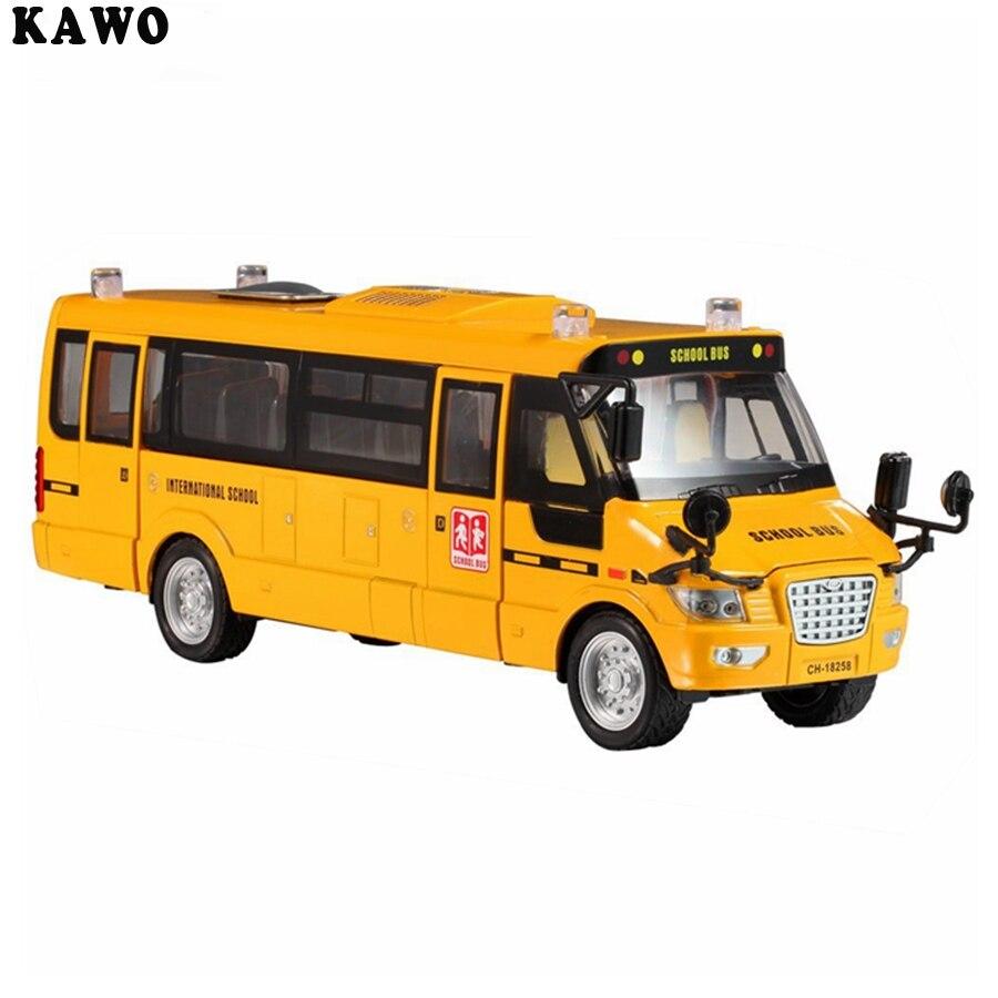 KAWO Pull-Back Action 조명과 5 개의 개방형 도어가있는 밝은 노란색 미국 학교 버스 라이트 및 음악 금속 대형 장난감 차량