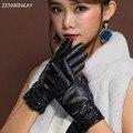 2017 Moda Feminina Inverno Luvas de Tela de Toque Luvas de Couro Das Mulheres Genuínas Senhoras de Couro Luvas Touchscreen