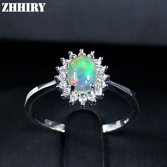 Anillo de piedra de ópalo de fuego genuino esterlina del Sólido 925 de plata anillos de piedras preciosas naturales joyería de la Mujer