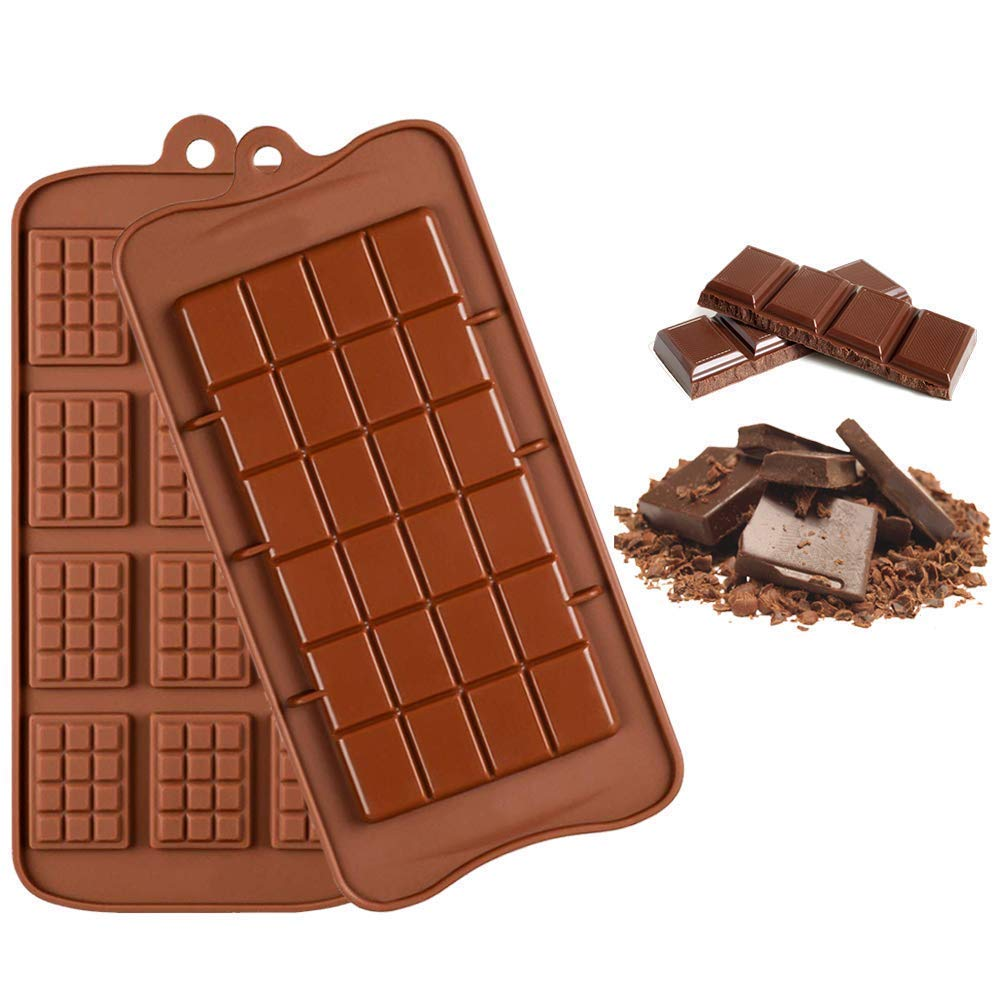 Silicone Chocolate Molds, FUHAIHE 2 Types of Break Apart Non Stick Candy Protein and Energy Bar Mold Baking Tray image