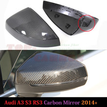 1:1 Replacement Carbon Fiber Rear View Mirror for Audi A3 S3 2014 2015 2016 With Side Lane assit