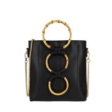 Women Round Wooden Handle Chain Lady Shoulder Bag Contrast Color PU Female Tote Handbag