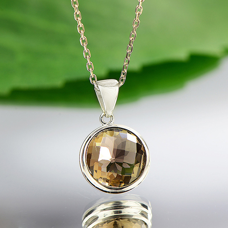 Real Pure 925 Sterling Silver Citrine Pendant For Women With Natural Stones Round Shape Geometrical Fine Jewelry Pendente