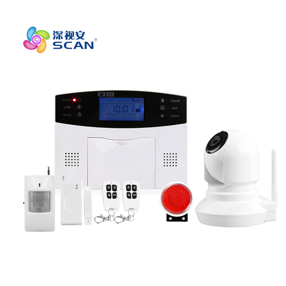 Android IOS app remote control WIFI wireless wired LCD keypad Smart GSM Alarm System home