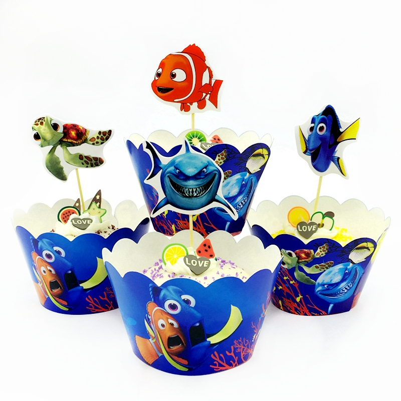 24 pcs/lot Cartoon Fish Cupcake Wrappers Topper Kids Birthday Wedding Party Cake Cup Decoration Supplies (12 wrapper+12 topper )