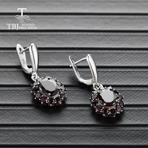 Image 2 - TBJ,natural gemstone black garnet earrings 925 sterling silver fine jewelry for woman birthday party & daily wear nice gift