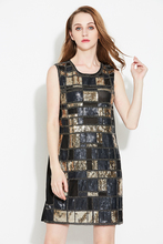 Vintage Women Round Neck Sleeveless Plaid Sequined Beaded Dress Bling Club Straight Party Dress With Paillettes