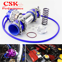 35PSI Boost 50mm Turbocharge Blow Off Valve BOV + 2 Flange Pipe Hose Kit Blue/ Black / Red