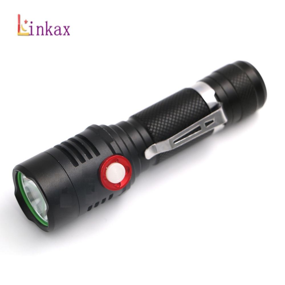 XML L2 USB Rechargeable Flashlight 2000lm Adjustable Brightness 2 Modes LED Flashlight Lamp Tactical Torch Lantern By 18650