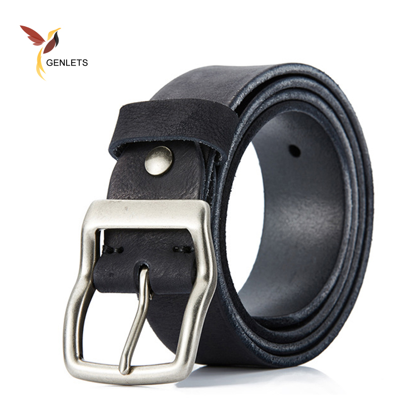2017 new genuine leather belt mens belt for jean buckle brown color black strap vintage