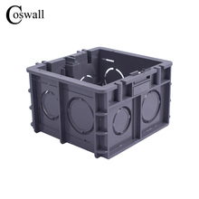 Coswall High Strength Mounting Box Internal Cassette 82mm * 76mm * 50mm For 86 Type Switch and Socket, Black Wiring Back Box
