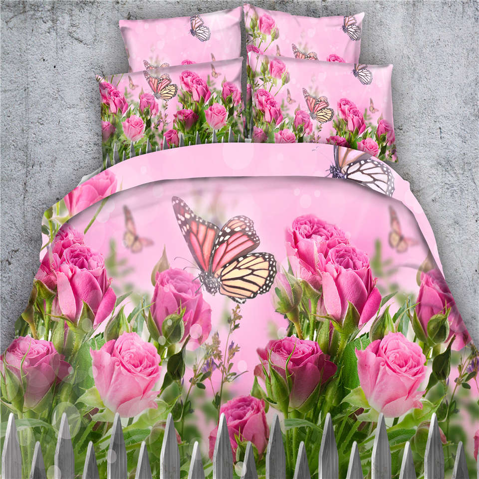 Ribbon embroidery bedspread designs - Pink Rose Floral Bedding Bed Sets 3d Butterfly Comforter Doona Quilt Duvet Cover Queen King Twin