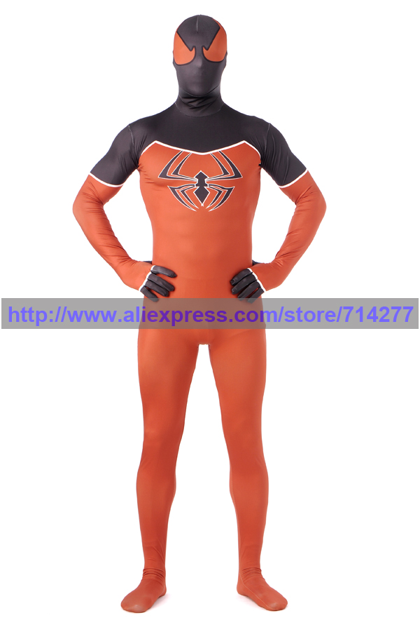 2015 Orange and Black Cool Spiderman costume spiderman suit spider-man Lycra children and adult spider man cosplay Halloween