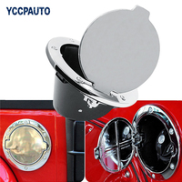 1PCS Silver ABS Aluminum Chrome Stainless Gas Fuel Filler Tank Cover Cap Door Cover For Jeep