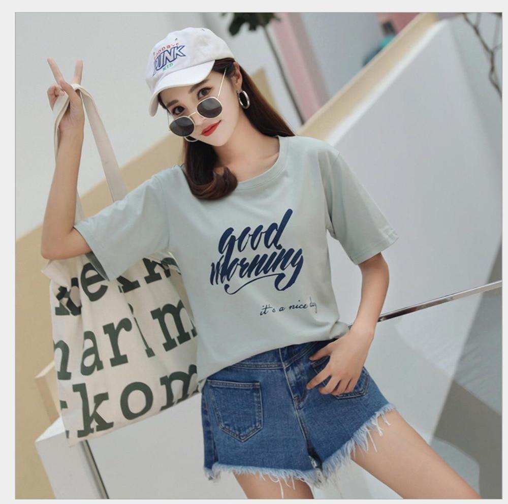 Женская летняя футболка Топ с коротким рукавом и круглым вырезом, модные повседневные футболки с буквенным принтом, женские топы, футболки из хлопка JY1005