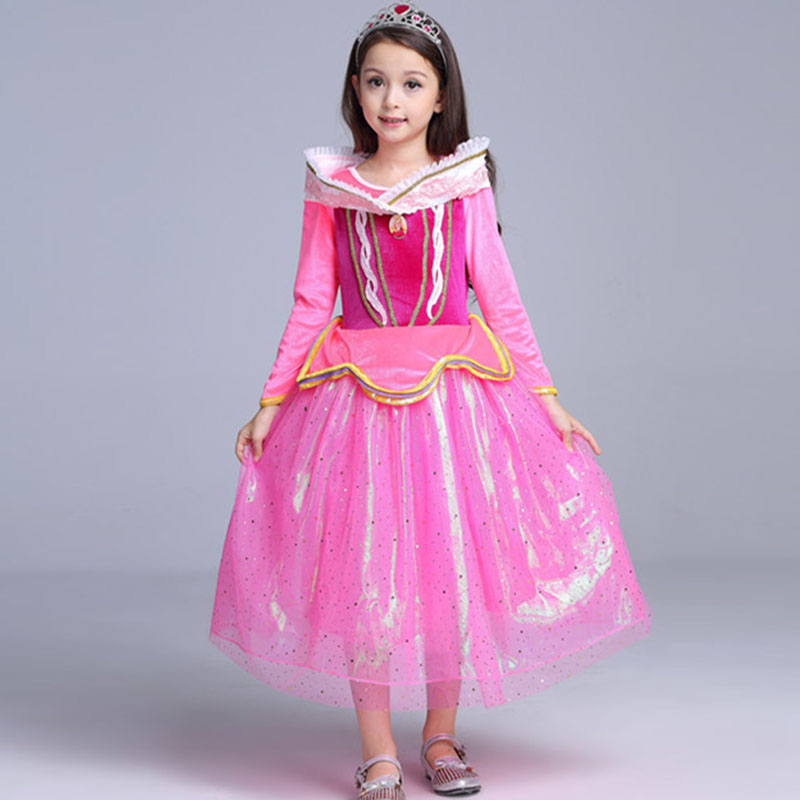 kids costume 4 to 12 years old Girl party dress summer dress 2018 pink color cosplay costume feminino Birthday Gift