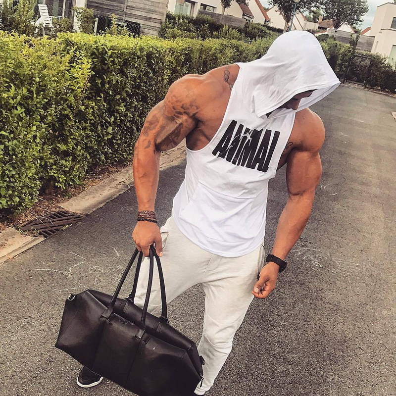 Men Bodybuilding Cotton Tank top Gyms Fitness Hooded Vest Sleeveless Shirt Summer Casual Fashion Workout Brand Clothing 38