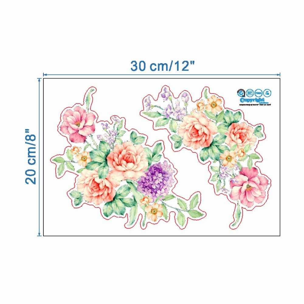 Adesivos de parede 3d de flores coloridas, adesivos bonitos para parede de peônia, geladeira, guarda-roupa, banheiro, decoração de parede, pvc