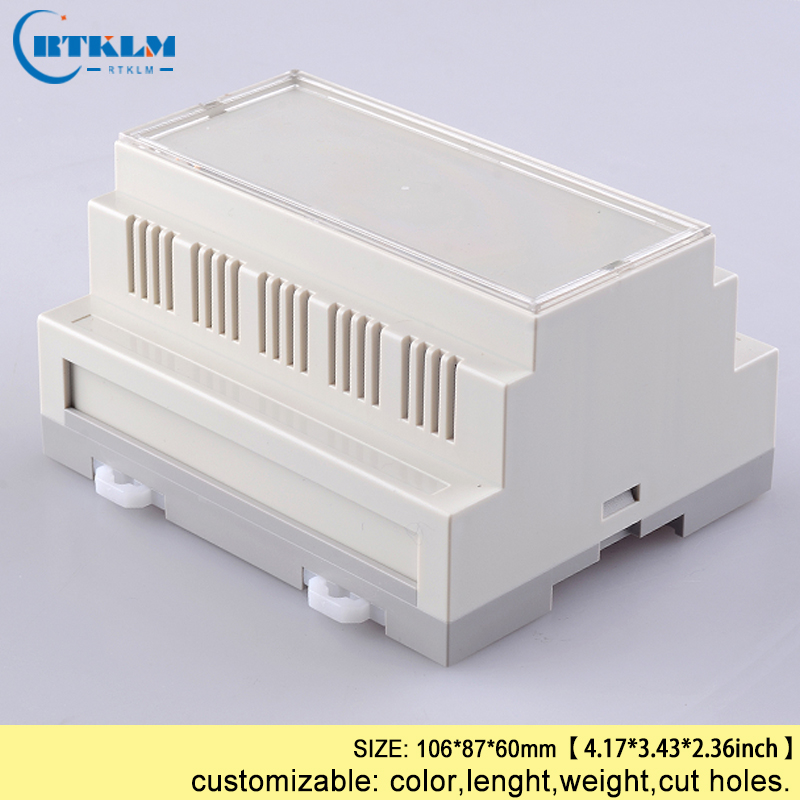 5pcs/lot din rail plastic box abs electronic project cases diy PLC desktop enclosure junction box IP54 106*87*60mm image