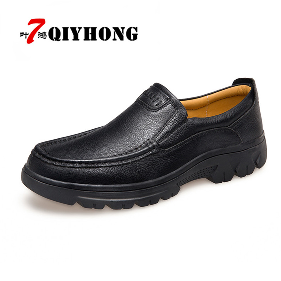 QIYHONG Fashion Casual Shoes Genuine Leather Loafers Zapatos Hombre  Men Shoes New Men Loafers Luxury Flats Shoes Men Chaussure new 2017 men s genuine leather casual shoes korean fashion style breathable male shoes men spring autumn slip on low top loafers