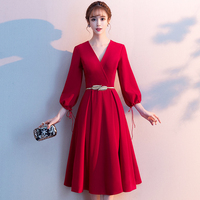 Robe De Soiree 2019 Wine Red New Elegant A Line V Neck Long Formal Evening Dresses Party Gowns LF200