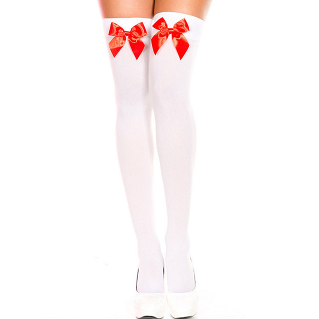 2c5ef310d72 Women Stockings For Halloween Costume Fashion Nylon White Pink Black Red  Bow Stocking Knee High Girls Sexy Thigh High Stocking