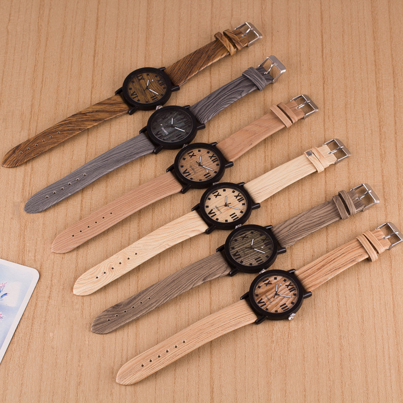Women and Men Wood Leather Band Analog Quartz Vogue Wrist Watches 16